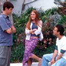 Colin Hanks and Schuyler Fisk with director Jake Kasdan on the set of Paramount's Orange County - 2002 - 400 x 307