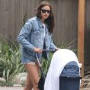 Irina Shayk in Jeans Shorts out in Pacific Palisades - 454 x 682