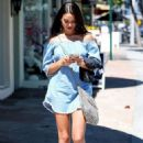 Shanina Shaik in Short Jeans Dress Out in West Hollywood - 454 x 681