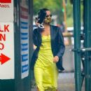 Irina Shayk – In a neon yellow dress out in New York