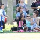 Britney Spears watches her sons Sean and Jayden play soccer in Woodland Hills, California with a friend on April 6, 2014