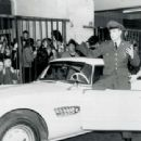 Elvis Presley receives a brand new BMW 507 from Uschi Siebert in Germany