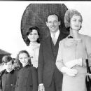 New British Ambassador to the U. S. sir David Ormsby-Gore with Lady Gore and their children Jane, 18, Francis, 7, and Alice, 9, as they arrived today aboard the Queen Mary. October 24, 1961 - 454 x 351