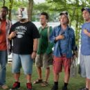 The guys come back from the dock and see Rob Hilliard's daughter who has arrived at the Lake House. Kurt (Chris Rock), Eric (Kevin James) with a KFC bucket on his head, Rob (Rob Schneider), Marcus (David Spade), Lenny (Adam Sandler). The guys can'