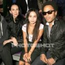 Kanye West, L'Wren Scott, Zoe and Lenny Kravitz attend the Yves Saint Laurent Fashion Show Spring/Summer 2007, on October 5, 2006 in Paris, France - 426 x 640