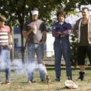 "(Left to right) Kevin Powell (JORMA TACCONE), Dave (BILL HADER), Rod Kimble (ANDY SAMBERG) and Rico (DANNY McBRIDE) enjoy the fireworks in ""Hot Rod."" Paramount Pictures Presents A Michaels/Goldwyn Production ""Hot Rod"" starring Andy"