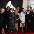 Musicians Franz Stahl, Nate Mendel, Pat Smear, Taylor Hawkins, Dave Grohl, and Chris Shiflett of Foo Fighters attend The 58th GRAMMY Awards at Staples Center on February 15, 2016 in Los Angeles, California. - 454 x 302