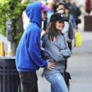 Sarah Jeffery in Jeans with her boyfriend in Vancouver