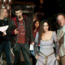 BTS: (L-R) Nicolas Cage, Jay Baruchel, Monica Bellucci and Jon Turteltaub. Ph: Myles Aronowitz © 2009 Disney Enterprises, Inc. and Jerry Bruckheimer, Inc. All rights reserved. - 454 x 302