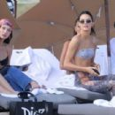 Bella Hadid in Black Bikini on the beach in Miami