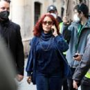 Salma Hayek – on the set of 'House of Gucci' in Rome - 454 x 343