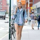 Jessica Hart in Jeans Shorts out in New York City - 454 x 568