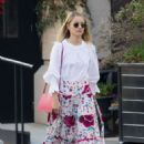 Dianna Agron in long floral skirt out in Soho - 454 x 636