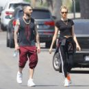 Behati Prinsloo and Adam Levine – Heads to morning Pilates workout in Studio City - 454 x 443