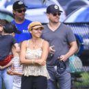 Elsa Pataky, Chris Hemsworth and Matt Damon at a local park in Byron Bay