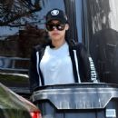 Naya Rivera in Tights – Steps out to grab her trash cans after garbage day in Los Feliz