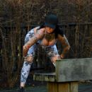 Jemma Lucy in Tights and Sports Bra – Workout in Manchester - 454 x 519
