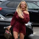Christine McGuinness in Red Mini Dress – Out in Cheshire - 454 x 758
