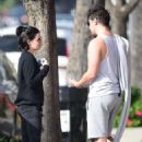 Lucy Hale – Wears camo leggings after a workout in Los Angeles