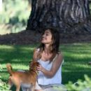 Minka Kelly takes her dog Fred to the park in Beverly Hills - 454 x 553