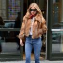 Rosie Huntington Whiteley in Fur Coat and Jeans Out in NY