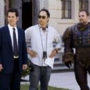 Paul Rudd, David Wain and Seann William Scott on the set of Role Models.