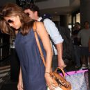 Eva Mendes And George Gargurevich At The Los Angeles International Airport