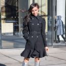 Sofia Carson in silver boots in New York