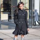 Sofia Carson in silver boots in New York