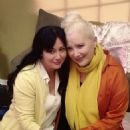 Shannen Doherty on the set of 'All I Want For Christmas'