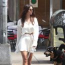 Emily Ratajkowski – Look stylish in white summer dress while out for lunch in New York