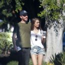 Lily Collins in Jeans Shorts and Charlie Mcdowell – Out in Los Feliz - 454 x 706