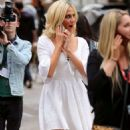 Pixie Lott – In white dress out in London - 454 x 826