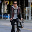 Hilary Rhoda Riding Her Bike In New York