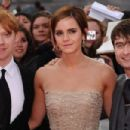 Daniel Radcliffe, Emma Watson, and Rupert Grint took the stage at the Harry Potter and the Deathly Hallows: Part 2 premiere in London, England today, July