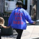Kourtney Kardashian and her kids Penelope and Reign spotted out for lunch at Corner Bakery with some friends in Calabasas, California on June 13, 2016 - 417 x 600