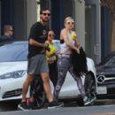 Kate Hudson in Tights with Boyfriend Danny Fujikawa out in Santa Monica