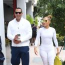 Jennifer Lopez in White Tights with Alex Rodriguez at a Gym in Miami - 454 x 680