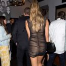 April Love Geary in Black Mini Dress at Catch in West Hollywood