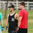 Taylor Lautner Playing Football in Calabasas