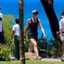 Julia Louis-Dreyfus in Red Bikini at the beach on the island of Lanai - 454 x 303
