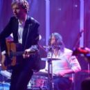 Musician Dave Grohl and Beck perform onstage during the 2016 Pre-GRAMMY Gala and Salute to Industry Icons honoring Irving Azoff at The Beverly Hilton Hotel on February 14, 2016 in Beverly Hills, California.