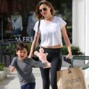 Miranda Kerr and son Flynn Bloom shop for toys and then head to lunch in Malibu, CA on April 14th, 2016