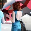 Emma Stone was spotted on set of her new film, The Gangster Squad, November 3, in Los Angeles