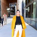 Lana Condor – In a yellow coat posing while out in NYC - 454 x 617