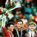 Brian ORSER, 2nd, Brian BOITANO, and Viktor PETRENKO 1988 Olympics