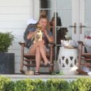 Nina Agdal – With her Dog out in Hamptons - 454 x 303
