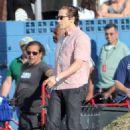 "Jake Gyllenhaal on the set of ""Night Crawler"" in Los Angeles (October 14)"