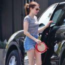 Emma Roberts in Cut-offs and Garrett Hedlund – Out for a coffee run in LA