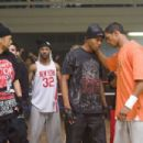 """A-Con (Affion Crockett, extreme left) and Thomas (Damon Wayans, Jr., extreme right) in the comic spoof """"Dance Flick."""" Photo Credit: Glen Wilson. Copyright ©2009 by PARAMOUNT PICTURES CORPORATION. All Rights Reserved."""